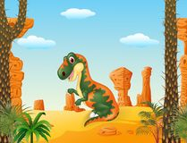 Cartoon funny tyrannosaurus with the desert background Stock Images