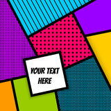 Geometric Pop art advertise background. Cartoon funny vintage strip mock up. Vector geometric halftone illustration. Blank rectangle Lichtenstein, comic Royalty Free Stock Images