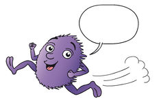 Cartoon funny violet creature running Royalty Free Stock Image