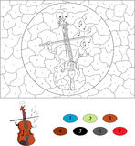 Cartoon funny violin. Color by number educational game for kids Royalty Free Stock Image