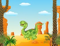 Cartoon funny walking dinosaur in the desert background Royalty Free Stock Photos