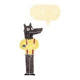 Cartoon funny werewolf with speech bubble Stock Photo