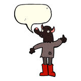 Cartoon funny werewolf with speech bubble Stock Images