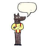 Cartoon funny werewolf with speech bubble Royalty Free Stock Image