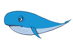 Cartoon funny whale. Vector hand drawn Royalty Free Stock Photos