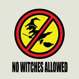 Cartoon funny witch on a broomstick sign vector illustration