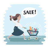 Cartoon funny woma run and push shopping trolley filled with full of shopping Royalty Free Stock Photography