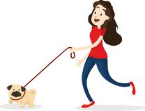 Cartoon funny woman walking with dog.  Stock Images
