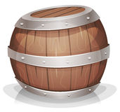 Cartoon-funny-wood-barrel. Illustration of a cartoon wooden wine barrel with iron strapping and nails stock illustration