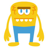 Cartoon Funny Yellow Monster Character Isolated. Vector Cartoon Funny Yellow Monster Character Isolated Royalty Free Stock Images