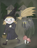 Cartoon funny young witch walking with broomstick Royalty Free Stock Photo