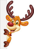 Cartoon funy deer holding blank sign Isolated on white background Royalty Free Stock Photo