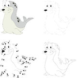Cartoon fur seal. Dot to dot game for kids. Cartoon fur seal. Dot to dot educational game for kids Royalty Free Stock Photos