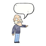 Cartoon furious old man with speech bubble Royalty Free Stock Image