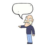 Cartoon furious old man with speech bubble Royalty Free Stock Images