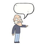Cartoon furious old man with speech bubble Royalty Free Stock Photos
