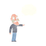 Cartoon furious old man with thought bubble Royalty Free Stock Photography
