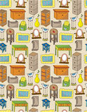 Cartoon furniture seamless pattern. Drawing Royalty Free Stock Image