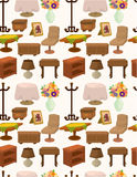 Cartoon Furniture seamless pattern Stock Images
