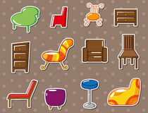 Cartoon furniture stickers Stock Photography