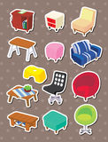 Cartoon Furniture stickers. Cute cartoon vector illusttration Royalty Free Stock Photography