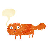 Cartoon furry cat with speech bubble Stock Images