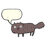 Cartoon furry cat with speech bubble Royalty Free Stock Photos