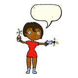 Cartoon future space girl with speech bubble Stock Photo