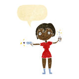 Cartoon future space girl with speech bubble Royalty Free Stock Photography