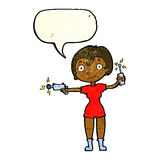Cartoon future space girl with speech bubble Stock Images
