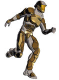 Cartoon of a futuristic warrior. Cartoon style render of a futuristic warrior. With a game feel, against a white background Stock Photos