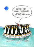 Cartoon gag about penguins' resemblance Stock Images