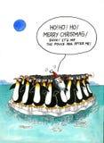 Cartoon gag about penguins' resemblance. Cartoon Xmas gag about penguins' resemblance vector illustration