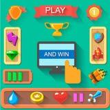 Cartoon game  icons and UI. Awards, armor Royalty Free Stock Photo