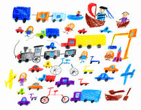 Cartoon game toy and people collection, children drawing object on paper, hand drawn art picture stock illustration