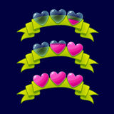 Cartoon game XP rating icons,. Level complete vector templates, hearts rank on green ribbon, assets for games design, GUI elements.Ranking.For animation Royalty Free Stock Photography