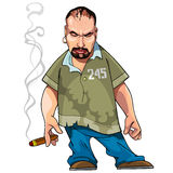 Cartoon gangster gloomy man. With a cigar Stock Image