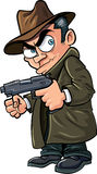 Cartoon gangster with a gun and hat. Isolated Stock Photo