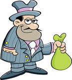 Cartoon Gangster Holding a Bag Royalty Free Stock Photography