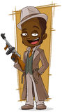 Cartoon gangster with tommy-gun Stock Images