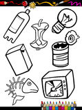 Cartoon garbage objects coloring page. Coloring Book or Page Cartoon Illustration of Black and White Garbage Objects Set for Children Education Stock Image