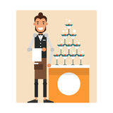 Cartoon garcon prepares a mound of champagne with a cherry.  Stock Photos
