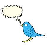 Cartoon garden bird with speech bubble Royalty Free Stock Images