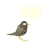 Cartoon garden bird with speech bubble Royalty Free Stock Image