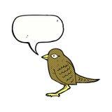 Cartoon garden bird with speech bubble Stock Photo