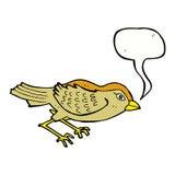 Cartoon garden bird with speech bubble Stock Photography