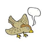 Cartoon garden bird with speech bubble Royalty Free Stock Photography