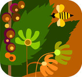 Cartoon of a garden with flowers and bees. Cartoon style of a sunny garden with flowers and bees,  illustration Stock Photo
