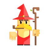 Cartoon garden gnome with smoking pipe. Fairy tale, fantastic, magical colorful character Stock Image