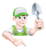 Cartoon Garden Man with Trowel Royalty Free Stock Photo
